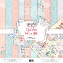 Набор бумаги Shabby baby girl redesign, 20х20 см, 10 листов